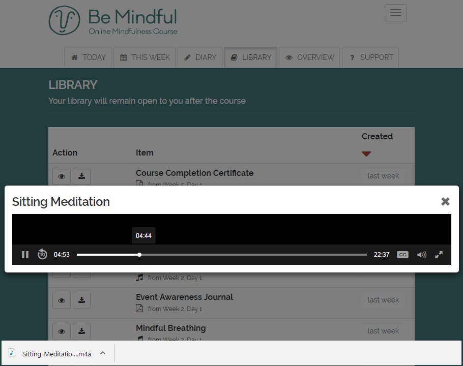 Indefinite access to a library of mindfulness audio
