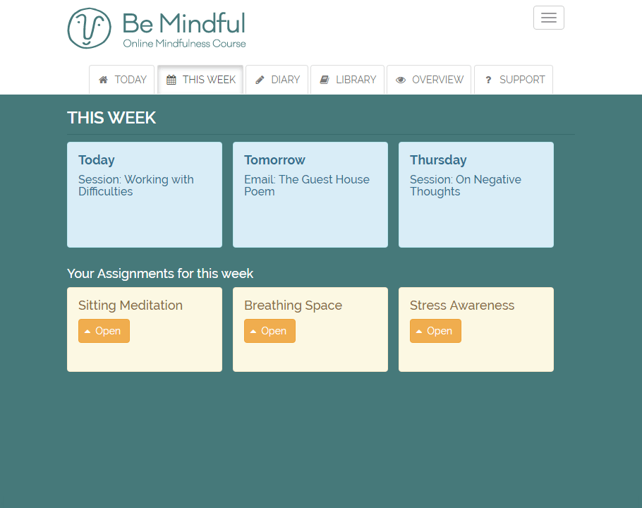 Weekly mindfulness sessions and activities plan